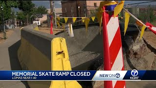 Homemade skate ramp memorial blocked off by city parks and rec