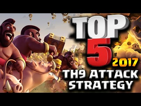BEST TOP 5 TH9 3 STAR ATTACK STRATEGY 2017 | Clash of Clans
