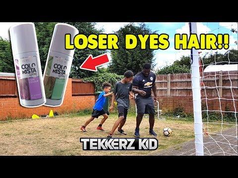 Tekkerz Kid & Romello vs The Dad | HAIR DYE FORFEIT Football Challenge