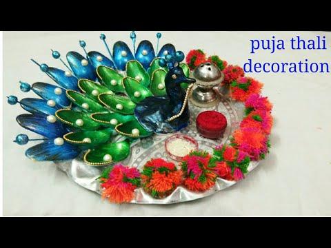 Puja thali Decoration for Navratri, Diwali or festivals