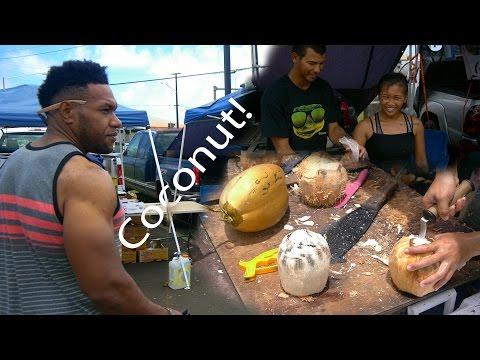 Drinking And Eating The Best Raw Coconut Island Style   Kauai, Hawaii