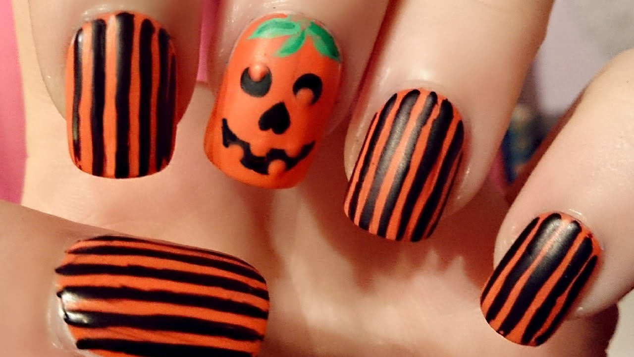Halloween Pumpkin Nail Art Tutorial - YouTube