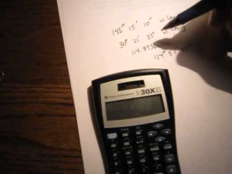 Using a calculator for Degrees, Minutes and Seconds Part III