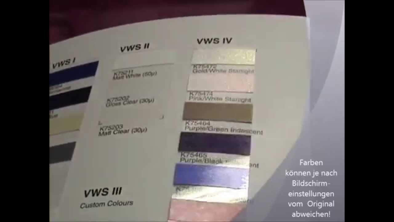 farbkarte kpmf vws folien folie statt lack autofolie. Black Bedroom Furniture Sets. Home Design Ideas