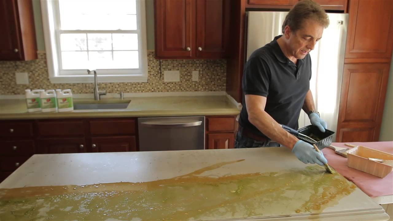 How To Stain Concrete Countertops With Z AquaTint YouTube - Stained concrete table