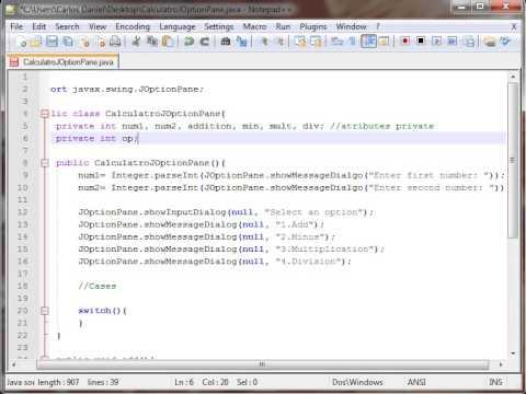 Calculator JOptionPane Java Swing