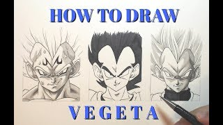 How To Draw VEGETA | VERY EASY - 3 Different Styles - Dragonball (#PrestigePromo 1/5)