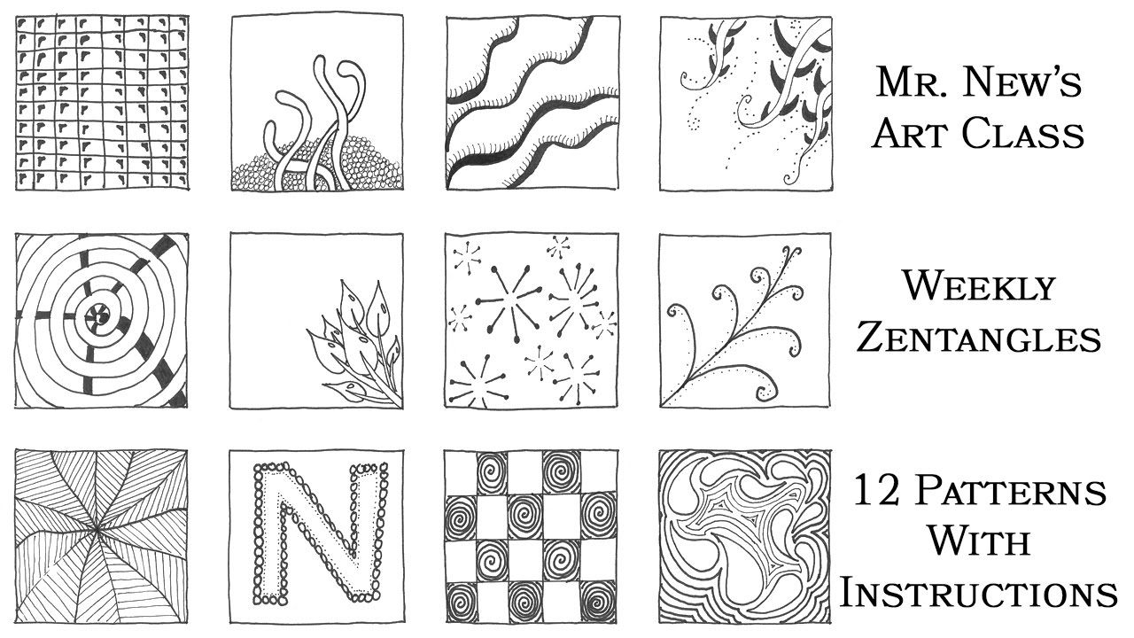 Easy Zentangle Doodles 12 More Zentangle Patterns Step By Step Weekly Zentangle Tutorial Vol 02 Youtube