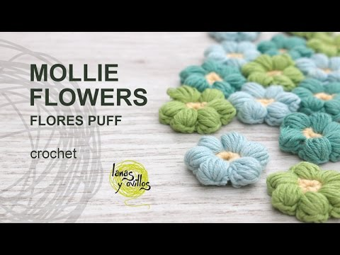 Tutorial mollie flowers o flores puff crochet o ganchillo - Puff de ganchillo ...