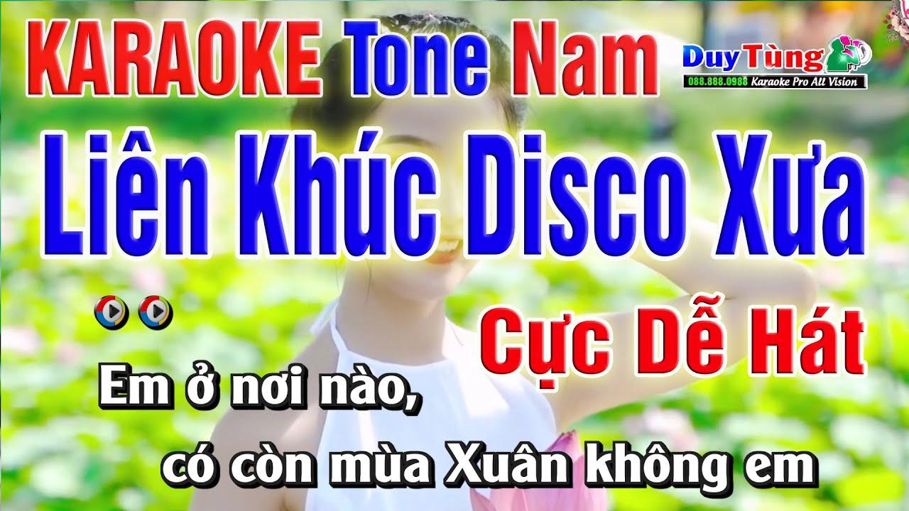 Karaoke || Liên Khúc Disco Xưa Đặc Sắc - Tone Nam || Nhạc Sống Duy Tùng