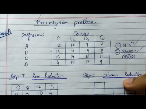 [Hindi] Assignment Problem(Hungarian Method) || Minimization Type || Operations Research