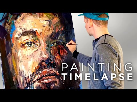 Time Lapse Expressive Oil Painting Male Portrait - Studio Sn