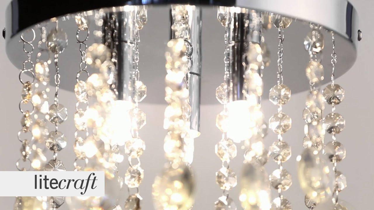 Savoy Crystal Effect Flush Ceiling Light - Champagne   Litecraft ...