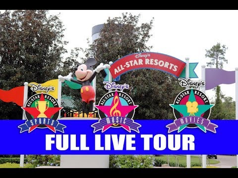 Disneys All Star Resorts Sports Music Movies Full  Tour