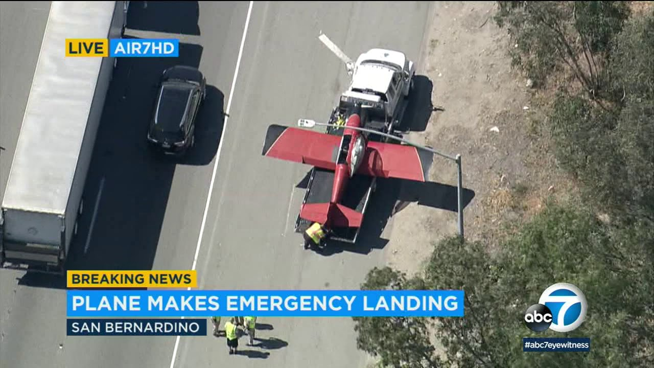 Small plane lands on 215 Fwy in San Bernardino | ABC7