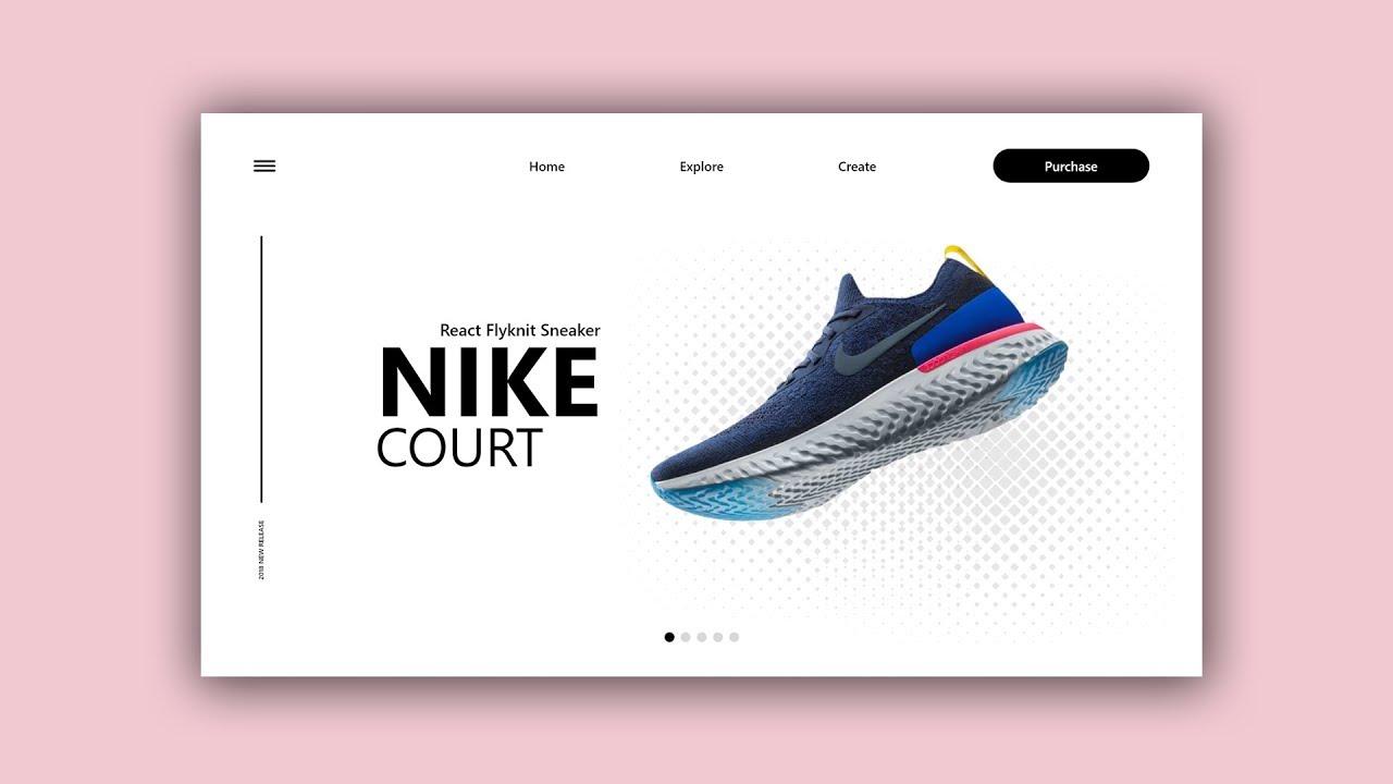 Web Design Speed Art #16 - Nike: React