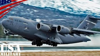 C-17大型輸送機が1200m滑走路で短距離離着陸とタッチ&ゴー - C-17 Transport Aircraft 4000 ft Runway Land, Take, Touch-and-go