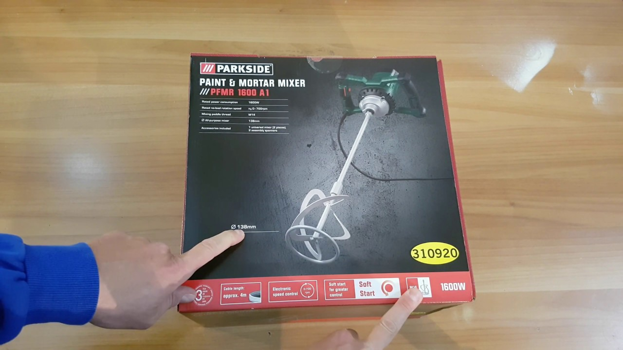 Parkside Paint Mortar Mixer Pfmr 1600 A1 Unboxing Testing