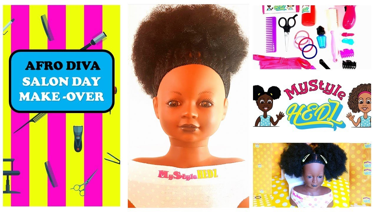 Afro Hair Toy Styling Head Doll Makeover.