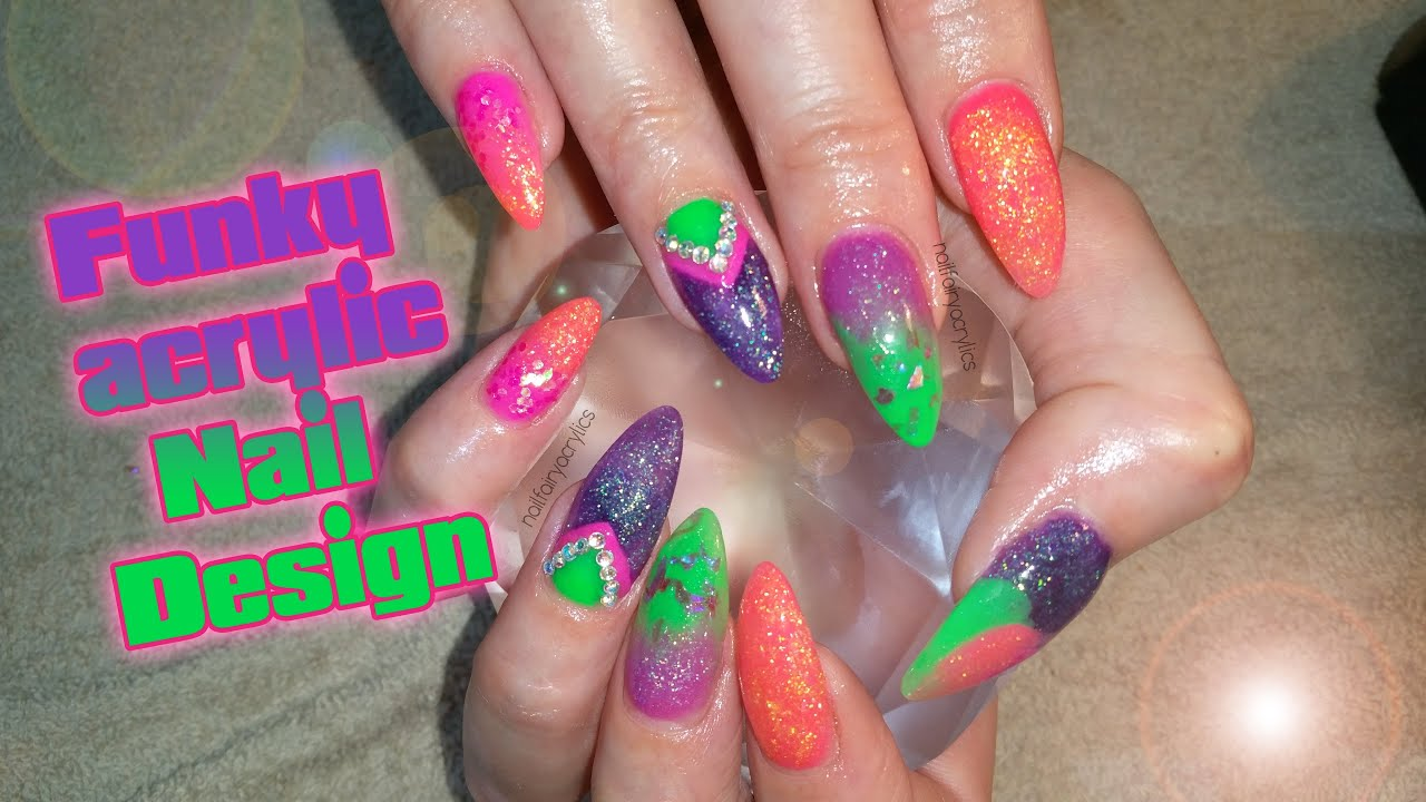 Acrylic Nails Funky Design Not Polish Nail Art Youtube