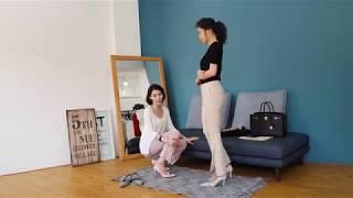 TINT 부츠컷 슬릿 슬랙스 Pink & Bei…