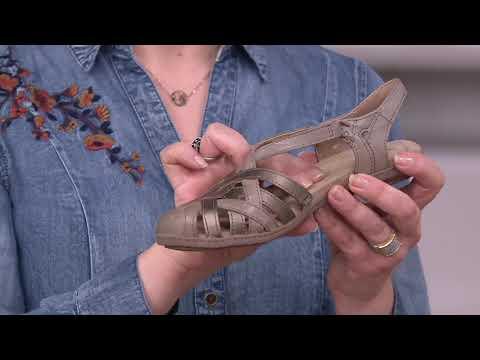 2b5a9607e20 Earth Origins Leather Cross-Strap Sandals - Belle Brielle on QVC ...
