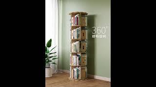 원목 회전 책장 360도 DIY 소나무 오픈형 2단 3…