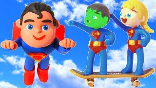 KIDS WEARING SUPERMAN COSTUMES ❤ PLAY DOH CARTOONS FOR KIDS