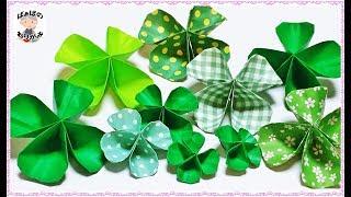 折り紙一枚で!四つ葉のクローバー Origami four leaf clover Lucky clover【音声解説あり】 / ばぁばの折り紙 四つ葉のクローバー 検索動画 19