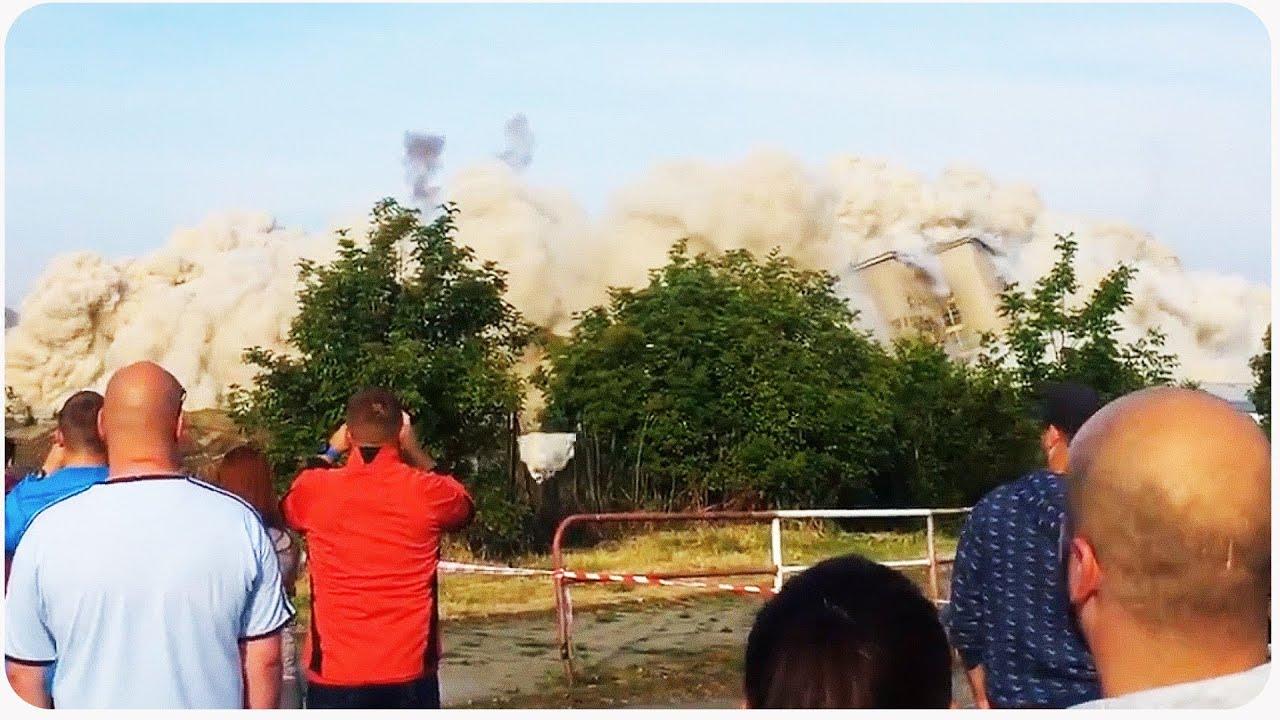 Flying Demolition Debris Nearly Hits Spectators