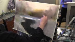 Зимняя речка, художник Сахаров, уроки рисования и живописи для начинающих