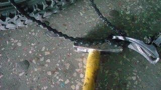 Как разъединить, расклепать, разомкнуть, велосипедную цепь. Снять замок.(Мой ВК https://vk.com/id263241899 Полезные видео с моего канала, о ремонте велосипеда. 1) Задняя втулка колеса обслуживан..., 2013-07-21T17:37:33.000Z)