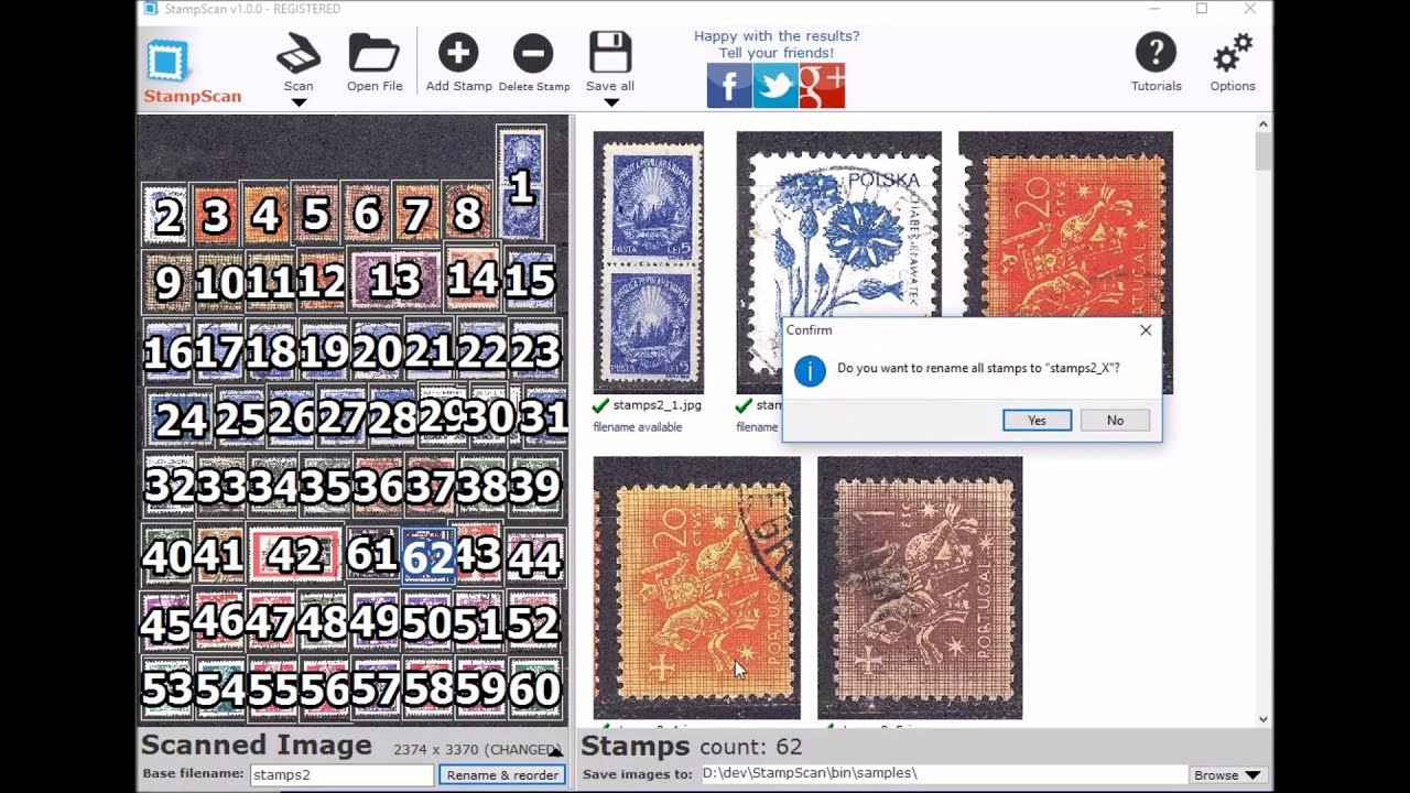 Scan multiple stamps with this software  Scan a whole page
