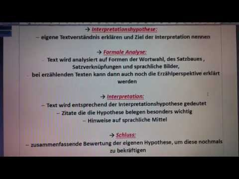 Interpretation Schreiben Aufbau Der Interpretation Youtube