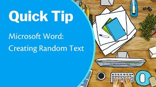 Microsoft Word-Quick Tip: H๐w to Create Random Text; Automatically Type Filler Text in a Document
