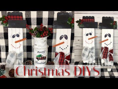 DIY DOLLAR TREE 3 CHRISTMAS DECOR   RUSTIC SNOWMEN, RED TRUCK MILK CAN & BUFFALO CHECK TABLE STAND