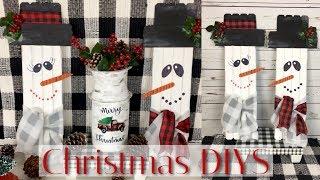 DIY DOLLAR TREE 3 CHRISTMAS DECOR | RUSTIC SNOWMEN, RED TRUCK MILK CAN & BUFFALO CHECK TABLE STAND