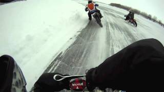 Slippery Sliding Motorcycle Ice Racing Crash