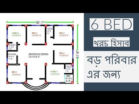 6 bed room plan |ছয় বেড।36x31| ছয় বেড এর বাড়ি । খরচ হিসাব ২০১৯