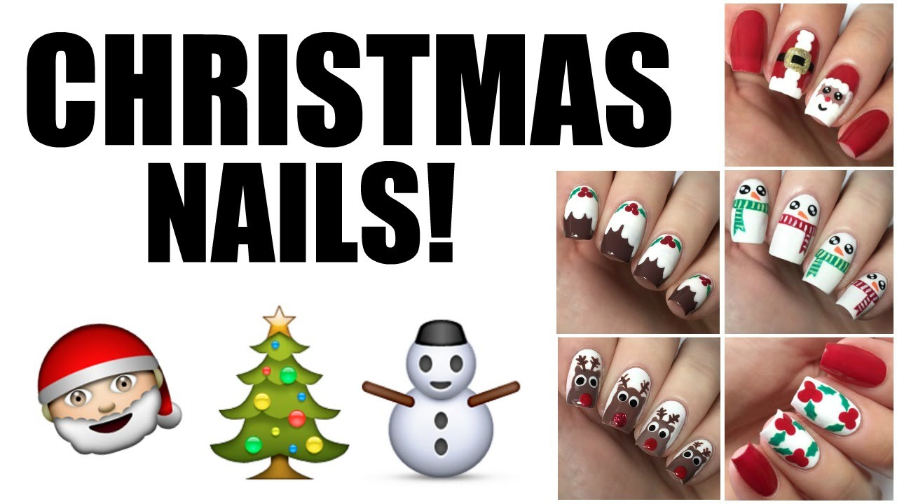 How to 5 easy christmas nail designs the nail trail youtube prinsesfo Gallery