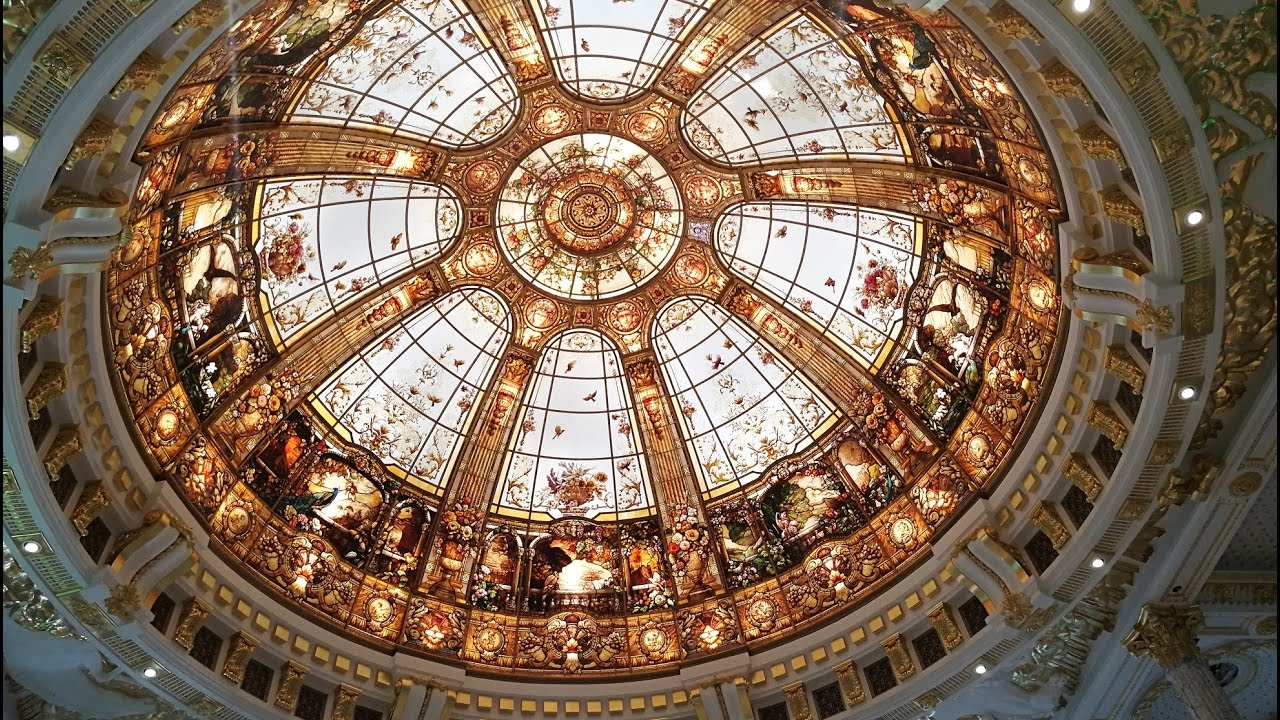 Stained Gl Domes Creations Secrets Skylight Installation By France Vitrail International