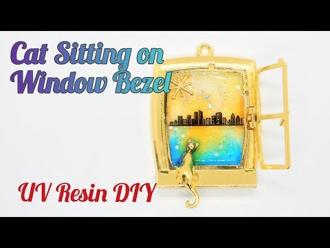 UV Resin DIY Cat Sitting on Window Bezel Charm