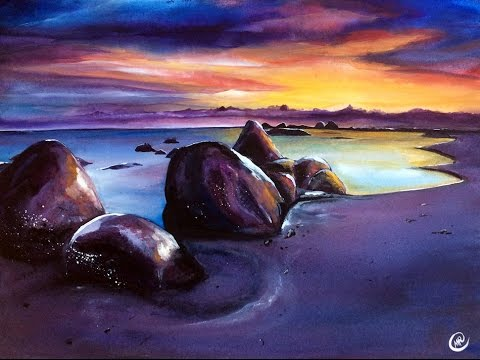 landscape beach sunset painting. watercolor sunset beach painting video tutorial landscape