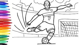 Sport Coloring Pages for Kids, How to Draw and Color a Soccer Player, Soccer Football ⚽