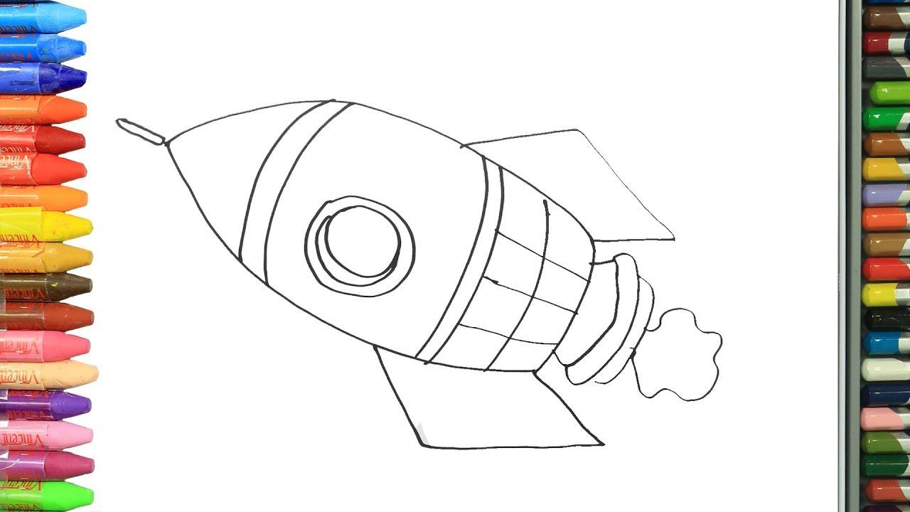 رسم صاروخ للتلوين Feat