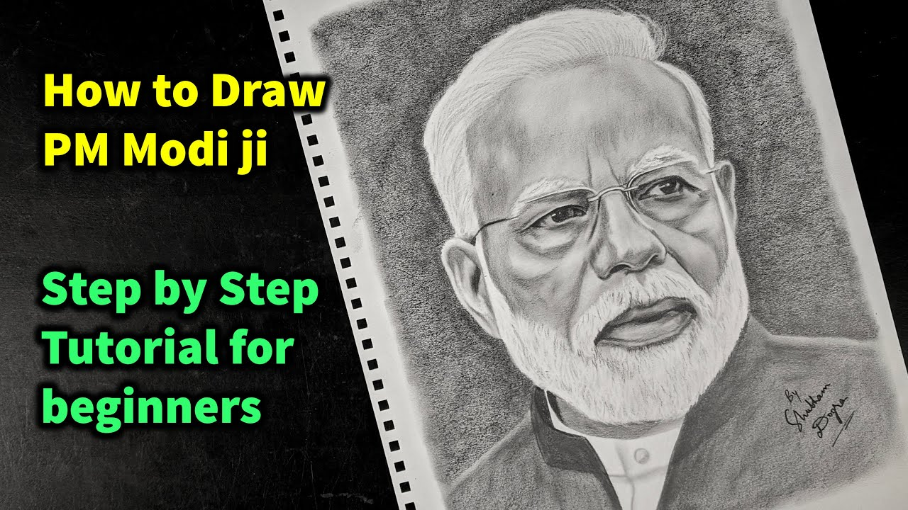 How to Draw PM Narendra Modi ji Step by Step Sketch ...