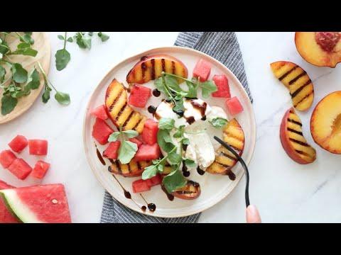 Grilled Peach and Watermelon Burrata Salad
