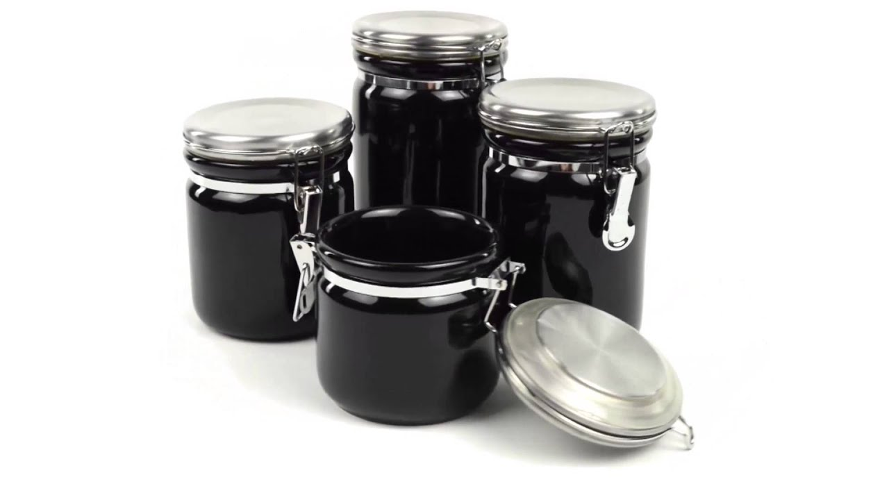 lovely Oggi White Canister Set Part - 13: OGGI Ceramic Canister Set with Stainless Steel Lids - 4-Piece