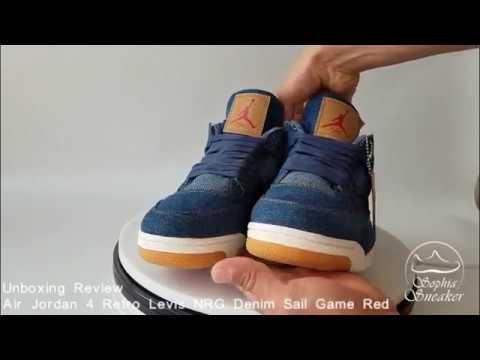 lowest price b186b a8493 Sophia Sneakers Air Jordan 4 Retro Levis NRG Denim Sail Game Red Unboxing  Review