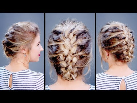 Easy Five Strand Braid Updo For Short Hair